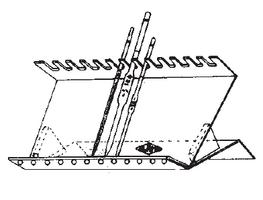 Soporte inclinado para pipetas, densímetros, termómetros.
